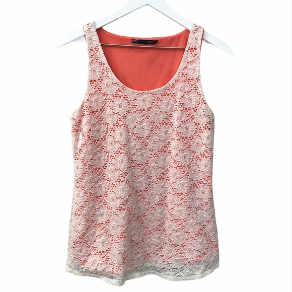 Maurices Tank Top Coral White Crochet Overlay